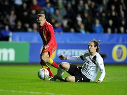 Craig Bellamy (Cardiff City) of Wales fires narrowly wide of the goal - Photo mandatory by-line: Joe Meredith/JMP - Tel: Mobile: 07966 386802 06/02/2013 - SPORT - FOOTBALL - Liberty Stadium - Swansea  -  Wales V Austria - International Friendly