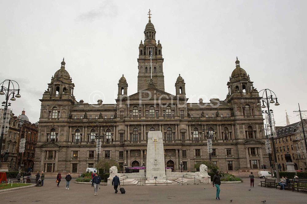 The Glasgow City Chambers on the 2nd November 2018 in Glasgow in the United Kingdom. The City Chambers tells the story of the wealth and industrial prosperity of Glasgow.
