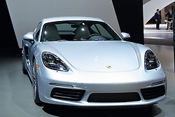 09 February 2017: Porsche 718 Caymen S<br /> <br /> First staged in 1901, the Chicago Auto Show is the largest auto show in North America and has been held more times than any other auto exposition on the continent.  It has been  presented by the Chicago Automobile Trade Association (CATA) since 1935.  It is held at McCormick Place, Chicago Illinois<br /> #CAS17