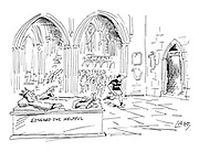 (A medieval tomb in a cathedral labelled 'Edward the Helpful' points the way to the toilets)