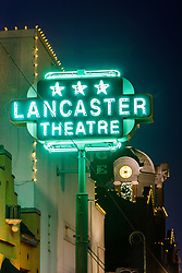Marquee of Lancaster Theater on Main Street, Grapevine, Texas USA