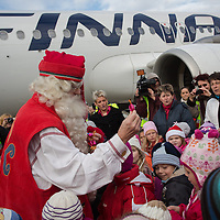 Finnish man dressed as Santa Claus named Joulupukki in Finland arrives to participate in the traditional Christmas celebrations in Budapest, Hungary on November 30, 2012. ATTILA VOLGYI