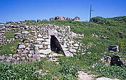 Prehistoric archaeological site at Ugarit, Syria in 1998 - entrance doorway to Royal Palace