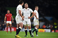 Chris Robshaw , the England captain © looks on after his team concede a penalty. Rugby World Cup 2015 pool A match, England v Wales at Twickenham Stadium in London, England  on Saturday 26th September 2015.<br /> pic by  Andrew Orchard, Andrew Orchard sports photography.