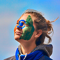 Chloé with her face painted with the Indian Flag. Semester at Sea Spring 2016 Voyage. Day 101 on the MV World Odyssey At Sea. Image taken with a Nikon 1 V3 camera and a 70-300 mm VR lens (ISO 160, 172 mm, f/5.3, 1/1600 sec).