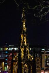 01JAN21 Scott Monument on Princes Street, Edinburgh on Hogmanay.