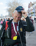 London, Great Britain, Martin CROSS, making his way to the Media Centre, before taking his place as one of the Timekeepers. The BNY Mellon Men's Boat Race and The Newton Women's Boat race and the reserve races Mortlake. ENGLAND. <br /> 17:21:48  Saturday  11/04/2015<br /> <br /> [Mandatory Credit; Intersport-images]