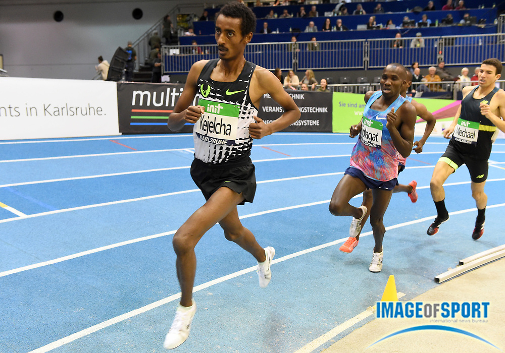 Yomif Kejelcha (ETH) places second in the 3,000m in 7:38.67 in the 34th Indoor Meeting Karlsruhen in an IAAF World Tour competition at the Messe Karlsruhe on Saturday, Feb. 3, 2018 in Karlsruhe, Germany. (Jiro Mochizuki/Image of Sport)