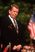 """Czech President Vaclav Havel at the White House during the Czech State Visit September 16, 1998 in Washington, DC.  Vaclav Havel, the former dissident playwright who led Czechoslovakia's 1989 """"Velvet Revolution"""" against communism and then served as his country's president, died December 18, 2011.  He was 75."""