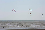 People kitesurfing on Camber Sands, Sussex, United Kingdom. Several companies offer kitesurfing at Camber Sands due its ideal conditions.