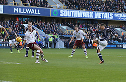 Millwall's Scott McDonald scores his sides first goal - Photo mandatory by-line: Robin White/JMP - Tel: Mobile: 07966 386802 02/11/2013 - SPORT - FOOTBALL - The Den - Millwall - Millwall v Burnley - Sky Bet Championship