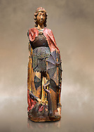 Gothic terracotta statue of the Archangel Gabriel attributed to Lorenzo Mercadante de Bretanya of Seville, circa 1460, from the convent of Santa Clara de Fregenal de la Sierra, Badajoz..  National Museum of Catalan Art, Barcelona, Spain, inv no: MNAC  4367. Against a art background. .<br /> <br /> If you prefer you can also buy from our ALAMY PHOTO LIBRARY  Collection visit : https://www.alamy.com/portfolio/paul-williams-funkystock/gothic-art-antiquities.html  Type -     MANAC    - into the LOWER SEARCH WITHIN GALLERY box. Refine search by adding background colour, place, museum etc<br /> <br /> Visit our MEDIEVAL GOTHIC ART PHOTO COLLECTIONS for more   photos  to download or buy as prints https://funkystock.photoshelter.com/gallery-collection/Medieval-Gothic-Art-Antiquities-Historic-Sites-Pictures-Images-of/C0000gZ8POl_DCqE