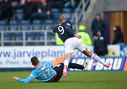 Dundee's Kyle Benedictus and Falkirk's Phil Roberts.<br /> Falkirk 2 v 0 Dundee, Scottish Championship game at The Falkirk Stadium.<br /> © Michael Schofield.