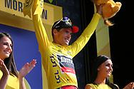 Podium, Greg Van Avermaet (BEL - BMC) yellow jersey during the Tour de France 2018, Stage 4, Team Time Trial, La Baule - Sarzeau (195 km) on July 10th, 2018 - Photo Kei Tsuji / BettiniPhoto / ProSportsImages / DPPI