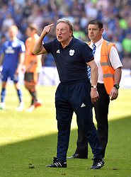 Cardiff City manager Neil Warnock gestures on the touchline during the Sky Bet Championship match at the Cardiff City Stadium.