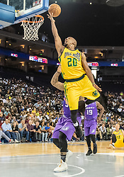 July 6, 2018 - Oakland, CA, U.S. - OAKLAND, CA - JULY 06: Andre Owens (20) of the Ball Hogs goes up for a basket during game 2 in week three of the BIG3 3-on-3 basketball league on Friday, July 6, 2018 at the Oracle Arena in Oakland, CA (Photo by Douglas Stringer/Icon Sportswire) (Credit Image: © Douglas Stringer/Icon SMI via ZUMA Press)