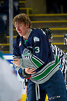 KELOWNA, BC - JANUARY 30: Cade McNelly #3 of the Seattle Thunderbirds heads to the dressing room after fighting with Schael Higson #21 of the Kelowna Rockets at Prospera Place on January 30, 2019 in Kelowna, Canada. (Photo by Marissa Baecker/Getty Images)