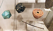 Roman stylus and ink jar. Steatite polyhedron inscribed with letters of the Greek alphabet    2nd–3rd century A.D.  with a faience polyhedron inscribed with letters of the Greek alphabet also 2nd–3rd century A.D.  Roman