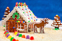 """Close up of log cabin gingerbread house in a snowy """"coconut"""" scene including a gingerbread cookie moose and trees; gumdrops line the path leading to the front door; A deep blue background simulates a night sky."""