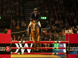 Great Britain's William Funnell riding Billy Angelo competes in the Snowflake stakes during day four of the London International Horse Show at London Olympia.