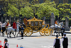 London, May 27th 2015. Her Majesty Queen Elizabeth II arrives in her carriage at the opening of the Tory majority-led Parliament.