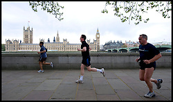 David Cameron running along the Embankment south side, Wednesday April 28, 2010. Photo By Andrew Parsons / i-Images.