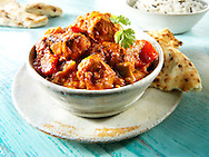 Char grilled Chicken Jalfrezi with rice and naan bread Indian food stock pictures, photos fotos & images