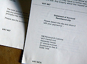UK government VAT tax forms detail statement of account remittance slip letter