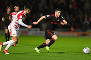 Lynden Gooch of Sunderland (11) breaks past Danny Andrew of Doncaster Rovers (3) during the EFL Sky Bet League 1 match between Doncaster Rovers and Sunderland at the Keepmoat Stadium, Doncaster, England on 23 October 2018.