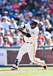 April 8, 2018 - San Francisco, California, U.S. - SAN FRANCISCO, CA - APRIL 08: San Francisco Giants Infield Pablo Sandoval (48) strikes out during a regular season game between the Los Angeles Dodgers and San Francisco Giants on April 8, 2018, at AT&T Park in San Francisco, CA. (Photo by Stephen Hopson/Icon Sportswire) (Credit Image: © Stephen Hopson/Icon SMI via ZUMA Press)