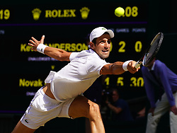 July 15, 2018 - London, England, U.S. - LONDON, ENG - JULY 15: Novak Djokovic (SRB) in action defeating Kevin Anderson (RSA) in the men's singles final at the Wimbledon Championships on July 15, 2018 at the AELTC in London, England. (Photo by Cynthia Lum/Icon Sportswire) (Credit Image: © Cynthia Lum/Icon SMI via ZUMA Press)