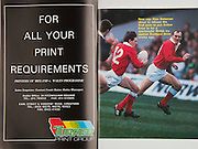 Irish Rugby Football Union, Ireland v Wales, Five Nations, Landsdowne Road, Dublin, Ireland, Saturday 24th March, 1990,.24.03.1990, 03.24.1990,..Referee- D J Bishop, New Zealand, ..Score - Ireland 14-8 Wales, ..Irish Team, ..K Murphy,  Wearing number 15 Irish jersey, Full Back, Cork Constitution Rugby Football Club, Cork, Ireland,..K J Hooks,  Wearing number 14 Irish jersey, Right Wing, Ards Rugby Football Club, Down, Northern Ireland,..M J Kiernan, Wearing number 13 Irish jersey, Right Centre, Dolphin Rugby Football Club, Cork, Ireland, ..B J Mullin, Wearing number 12 Irish jersey, Left Centre, Blackrock College, Rugby Football Club, Dublin, Ireland, ..K D Crossan, Wearing number 11 Irish jersey, Left Wing, Instonians Rugby Football Club, Belfast, Northern Ireland,..B A Smith, Wearing number 10 Irish jersey, Out Half, Oxford University Rugby Football Club, Oxford, England, ..M T Bradley, Wearing number 9 Irish jersey, Scrum Half, Constitution Rugby Football Club, Cork, Ireland,..N P Mannion, Wearing number 8 Irish jersey, Forward, Corinthians Rugby Football Club, Galway, Ireland,..P J OHara, Wearing number 7 Irish jersey, Forward, Sunday Wells Rugby Football Club, Cork, Ireland, ..W D McBride, Wearing number 6 Irish jersey, Forward, Malone Rugby Football Club, Belfast, Northern Ireland,..N P Francis, Wearing number 5 Irish jersey, Forward, Blackrock College, Rugby Football Club, Dublin, Ireland, . .D G Lenihan, Wearing number 4 Irish jersey, Captain of the Irish team, Forward, Cork Constitution Rugby Football Club, Cork, Ireland,..D C Fitzgerald, Wearing number 3 Irish jersey, Forward, Landsdowne Rugby Football Club, Dublin, Ireland,..J P McDonald, Wearing number 2 Irish jersey, Forward, Malone Rugby Football Club, Belfast, Northern Ireland, ..J J Fitzgerald, Wearing number 1 Irish jersey, Forward, Young Munster Rugby Football Club, Limerick, Ireland,..Welsh Team, ..P H Thorburn, Wearing number 15 Welsh jersey, Full Back, Neath Rugby Football Club, Neath, Wales, ..