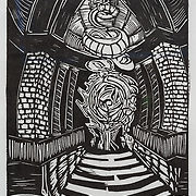 Title: Chamber<br /> Artist: Solomon Barna<br /> Date: 2012<br /> Medium: Relief print<br /> Awards: Third Place Printmaking, 2012 Annual Student Art Exhibit<br /> Status: Available<br /> Location: HLC4000 Storage