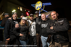 Australian builders (L>R) Aaron Neilson, Kyle Smith, Jole Styles, Tom Macbeth, Ian Lawson and Andrew Parisi with motorcycle industry emcee Jaqui VanHam at the Monday night afterparty at Mooneyes Area One after the Mooneyes Yokohama Hot Rod & Custom Show. Yokohama, Japan. December 5, 2016.  Photography ©2016 Michael Lichter