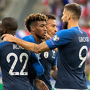 PARIS, FRANCE - September 10: Goalscorer Kingsley Coman #11 of France is congratulated by Olivier Giroud #9 of France after scoring his sides first goal during the France V Andorra, UEFA European Championship 2020 Qualifying match at Stade de France on September 10th 2019 in Paris, France (Photo by Tim Clayton/Corbis via Getty Images)