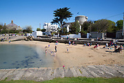 Sandycove Beach on 08th April 2017 in County Dublin, Republic of Ireland. Sandycove is a popular seaside resort in County Dublin