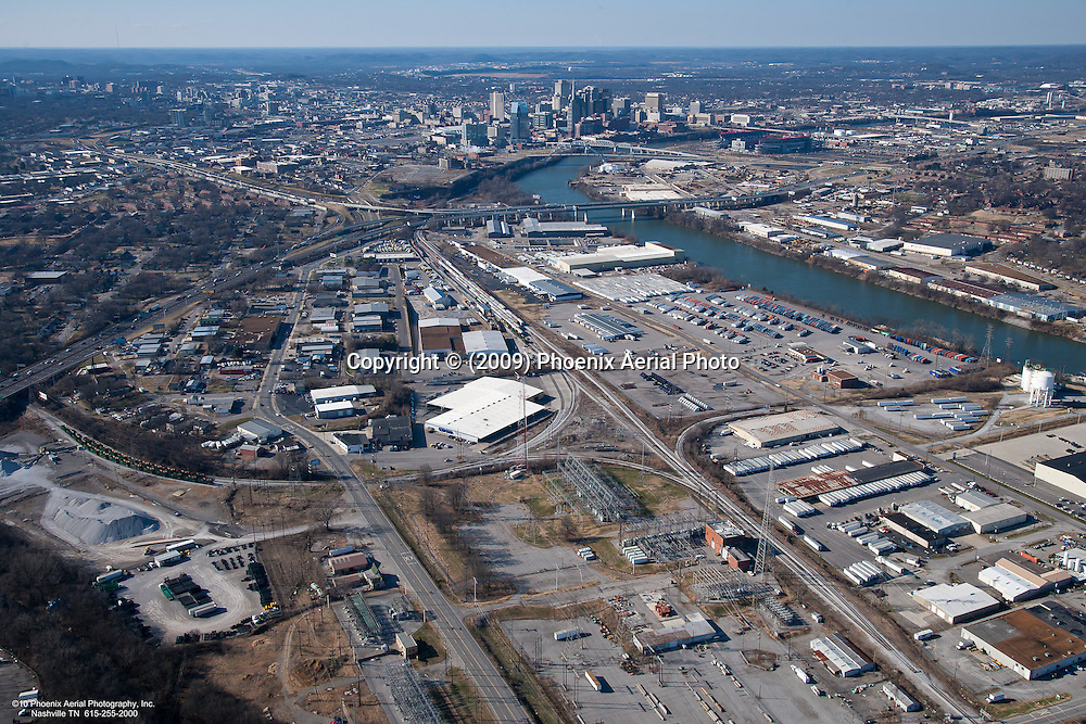 Industrial area in Downtown Nashville showing Visco Drive, Lebanon Road and rail lines with skyline in the background.