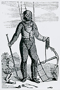 Diving suit designed by August Siebe (1788-1872) German-born British engineer. Engraving c1870.