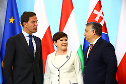June 19, 2017 - Warsaw, Poland - Visegrad Group meets Benelux Prime Ministers for official meeting. President of the V4 Group and Polish Prime Minister Beata Szydlo welcomes Prime Minster of Hungary Viktor Orban, Czechian PM Bohuslav Sobotka and Slovakian PM Robert Fico. Prime Minister of Luxemboug Xavier Bettel, Dutch PM Mark Rutte and Belgian PM Charles Michel arrive in Warsaw. (Credit Image: © Jakob Ratz/Pacific Press via ZUMA Wire)