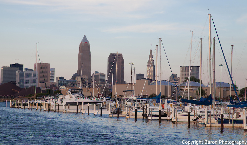 Cleveland skyline from Edgewater  showing Lake Erie