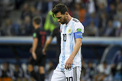 June 21, 2018 - Nizhny Novogorod, Russia - Lionel Messi of Argentina dejected during the FIFA World Cup Group D match between Argentina and Croatia at Nizhny Novogorod Stadium in Nizhny Novogorod, Russia on June 21, 2018  (Credit Image: © Andrew Surma/NurPhoto via ZUMA Press)