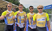Lucerne, SWITZERLAND. GBR M4- Left to right Alex GREGORY, Peter REED, Tom JAMES and Andy TRIGGS HODGE, winners the men's four at the  2012 FISA World Cup II, Lucerne Regatta.  Rotsee  Rowing Course,  Sunday  27/05/2012  [Mandatory Credit Peter Spurrier/ Intersport Images]..