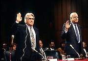 Nicaraguan Contra leaders Eden Pastora (L) and Adolfo Calero Portocarrero are sworn in to testify in Congress  November 26, 1996 in Washington, DC.