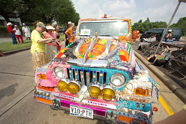 Stock photo of a colorfully decorated jeep