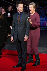 © Licensed to London News Pictures. 15/10/2017. London, UK. SAM ROCKWELL and FRANCES MCDORMAND attends the Three Billboards Outside Ebbing Missouri Film UK Premiere showing as part of the 51st BFI London Film Festival. Photo credit: Ray Tang/LNP