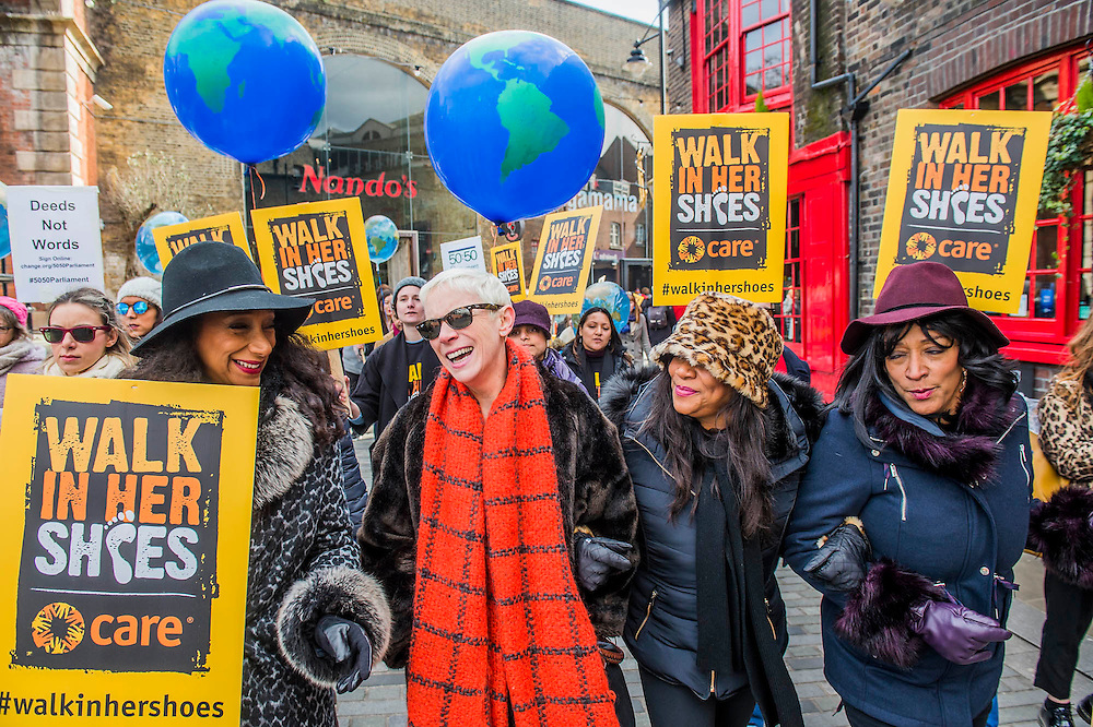 Annie Lennox and Sister Sledge - 'Walk in Her Shoes' a mother's day march in solidarity with women and girls around the world and in advance of International Womens Day this week - CARE International's Walk In Her Shoes event led by Helen Pankhurst, her 21-year old daughter Laura Pankhurst, music legend Annie Lennox, Bianca Jagger, comedian Bridget Christie, Secretary of State for International Development Justine Greening, London Mayoral candidates Sadiq Khan and Sophie Walker and a group of 'Olympic Suffragettes' in Edwardian clothing with banners. They were also joined by Sister Sledge.
