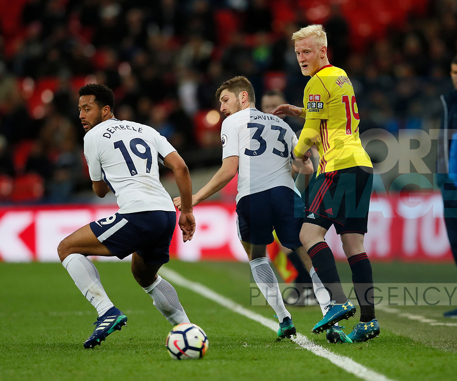 Will Hughes of Watford blocked by Mousa Dembele and Ben Davies of Tottenham during the premier league match at Wembley Stadium, London. Picture date 30th April 2018. Picture credit should read: David Klein/Sportimage