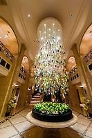 Chandelier in lobby of the Four Seasons Hotel Amman, Amman, Jordan.
