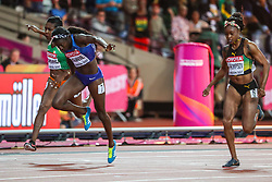 London, 2017 August 06. Tori Bowie, USA,  wins the women's 100m final on day three of the IAAF London 2017 world Championships at the London Stadium. © Paul Davey.