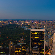 Panorama of New York in dusk with skyscrapers skyline and Central park
